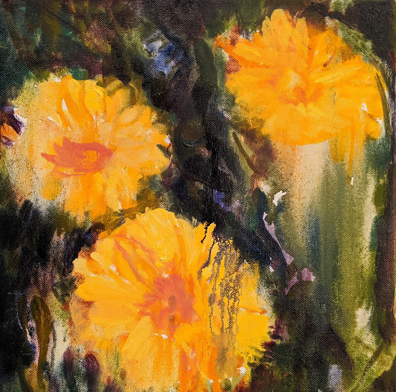 Orange Yellow Flowers, oil on canvas, 12 x 12