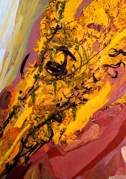 Gleaming Yellow Leaves, oil painting over printed photograh on canvas, 48 x 36""