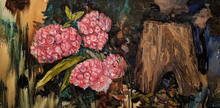 Pink Flowers and a Log, oil on canvas, 24 x 48
