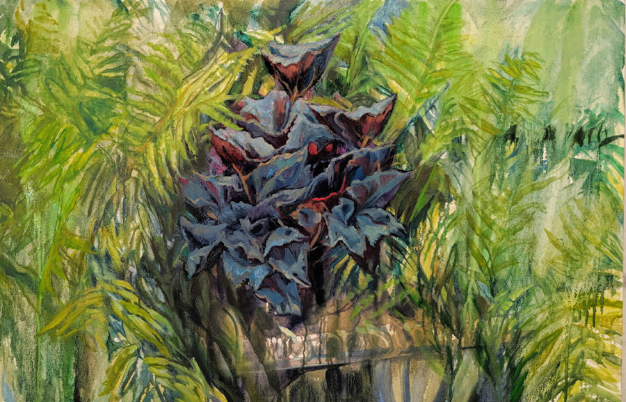 Red Begonia Resting Among the Tall Ferns, oil on canvas, 24 x 48