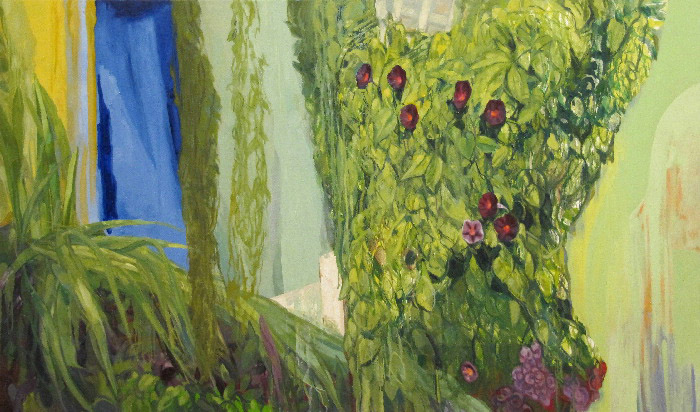 <i>Ruby Morning Glories, High Noon,</i> oil on canvas, 38 x 64""