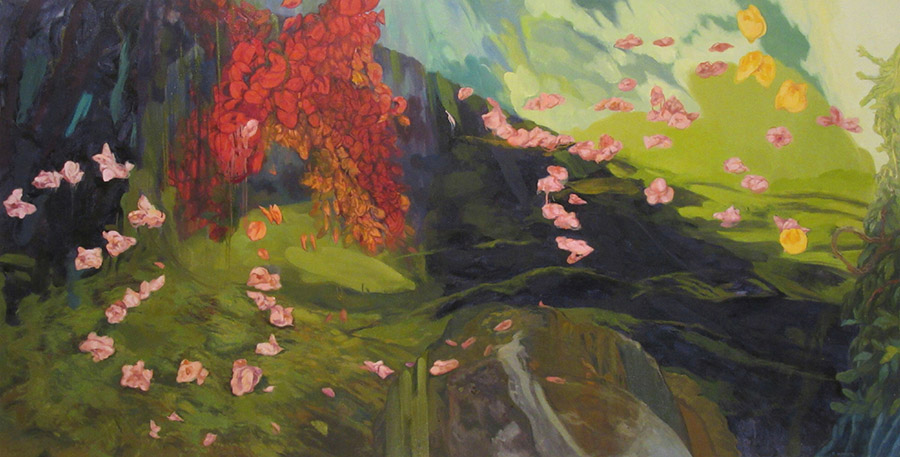 <i>Shadows and Light in the Garden,</i> oil on canvas, 36 x 70""