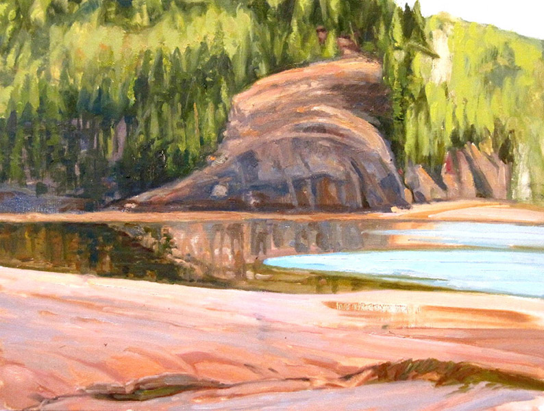 <i>Rock Boulders, Machiasport, ME</i>, oil on canvas, 12 x 16""