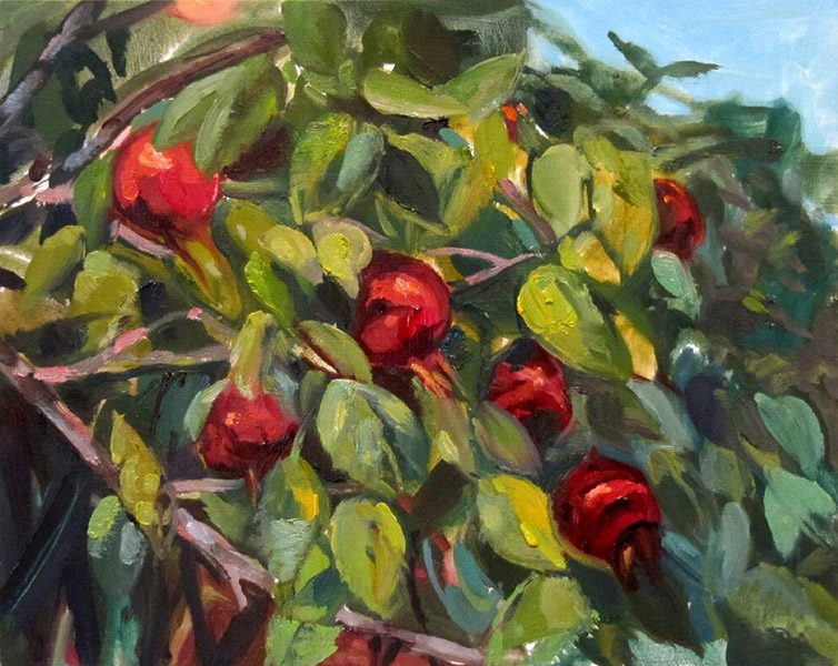 <i>Rose Hips in Machiasport, ME</i>, oil on canvas, 4 x 6""