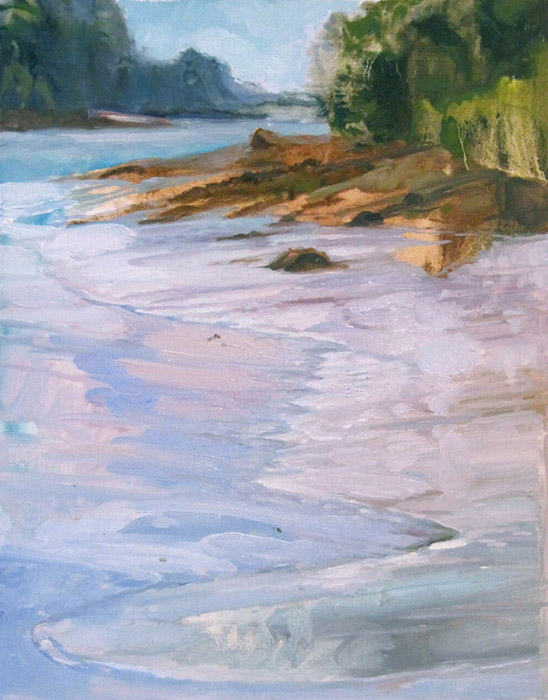 <i>Silken Tidal Flat</i>, Machiasport, ME, oil on canvas, 14 x 18""